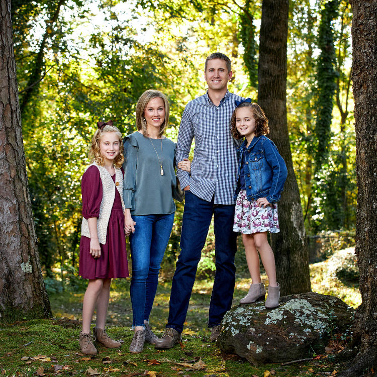 Orthodontist Patrick Briscoe Family in the woods
