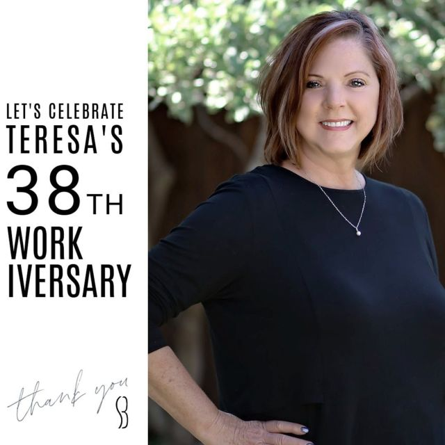 Let's give a round of applause to  Mrs. Teresa!!👏🏼 👏🏼👏🏼 • Comment with some 👏🏼 to help show her our appreciation! 38YEARS ! ! ! WOW  #bracesbysb #staffanniversary #SMILE #shermanandbriscoeorthodontics