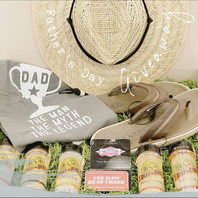 IT'S DADS TURN. . .  ENTER OUR FATHER'S DAY GIVEAWAY including: HEYDUDE sandals, 5 BearCreek Smokehouse spices, $100 Skinner's Meat Market gift card & a vented straw hat.  • LIKE the post👍🏼 • TAG a Father figure👨🏻🏭🚴🏽👨🏾🍳👨🏼🦳🕺🏼 • SHARE IT ➡️➡️ **EXTRA entry for participating on FACEBOOK ALSO.  ✨Winner will be chosen June 21st   ⚠️REMEMBER⚠️ •We will *never send you a friend request. •We will *never ask for your credit card information.
